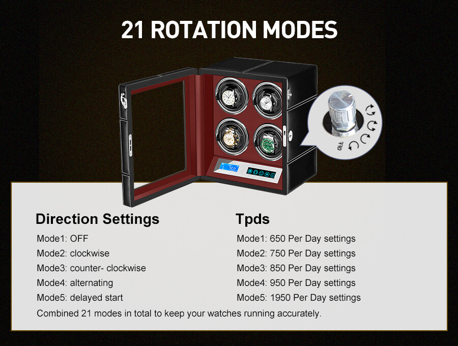 Quad Rolex Automatic Watch Winder With Led Touch Screen in Red Interior